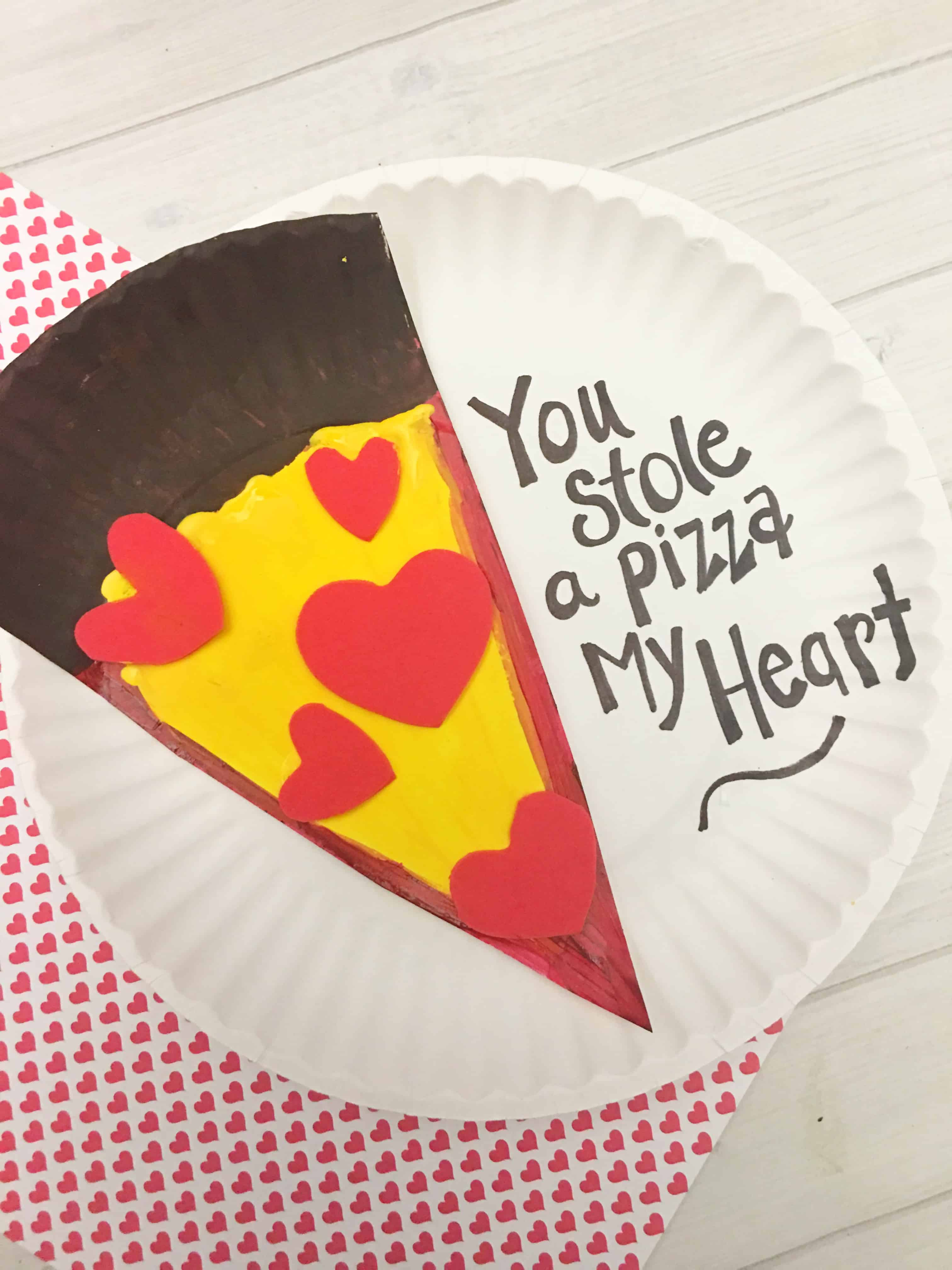 Valentine's Day Pizza Paper Plate Craft for Kids Tutorial