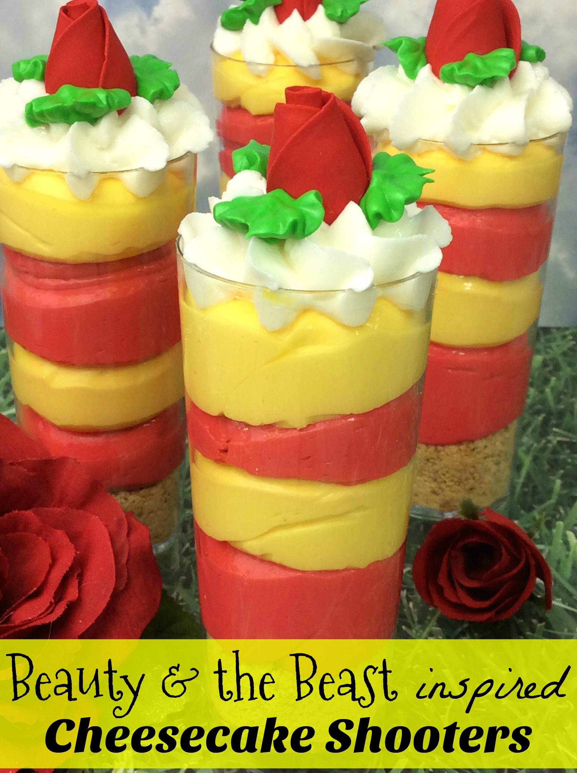 Beauty and the Beast inspired Cheesecake Shooters Recipe