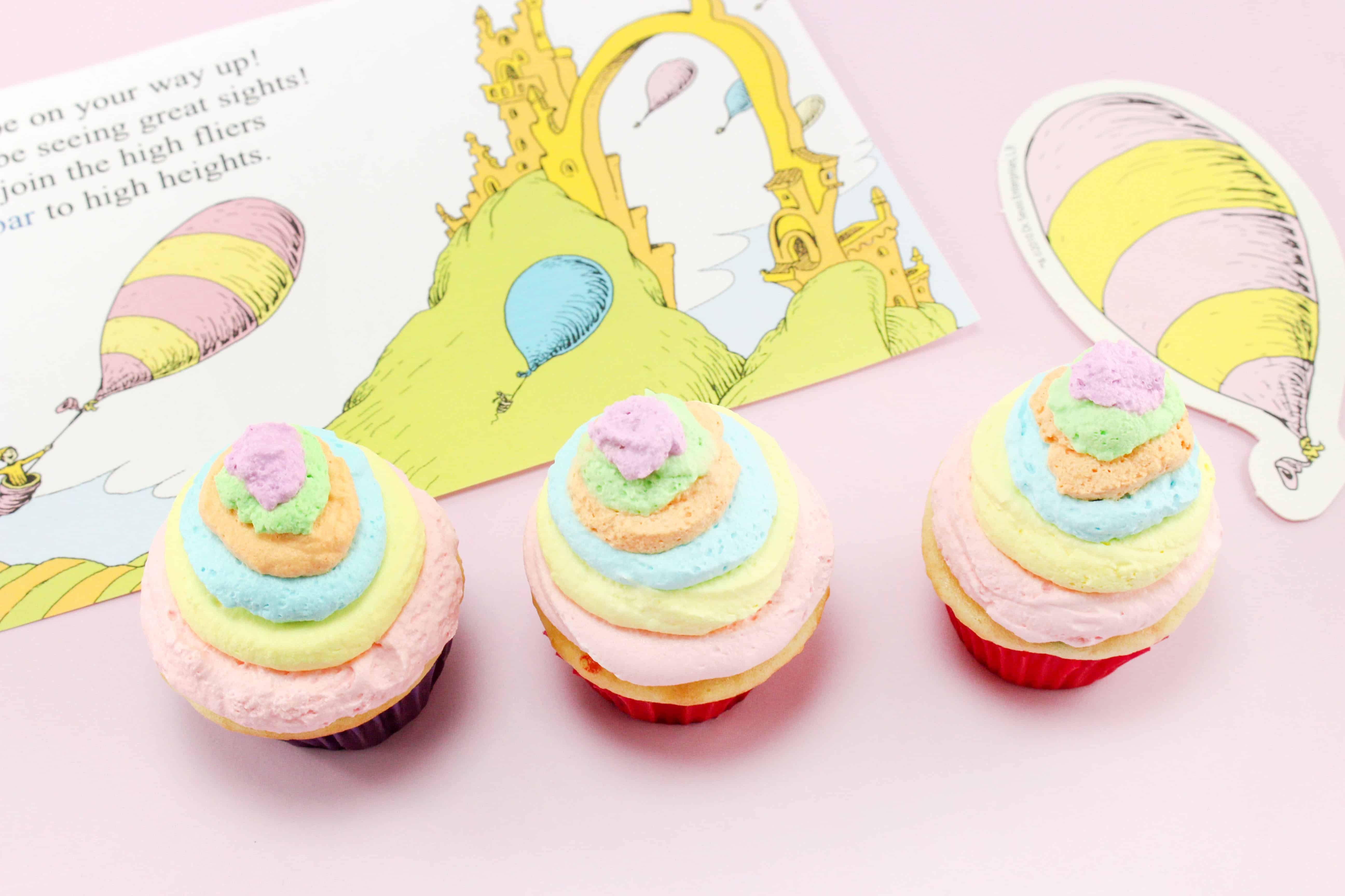 three Oh the Places You'll Go Cupcakes Dr. Seuss Recipe