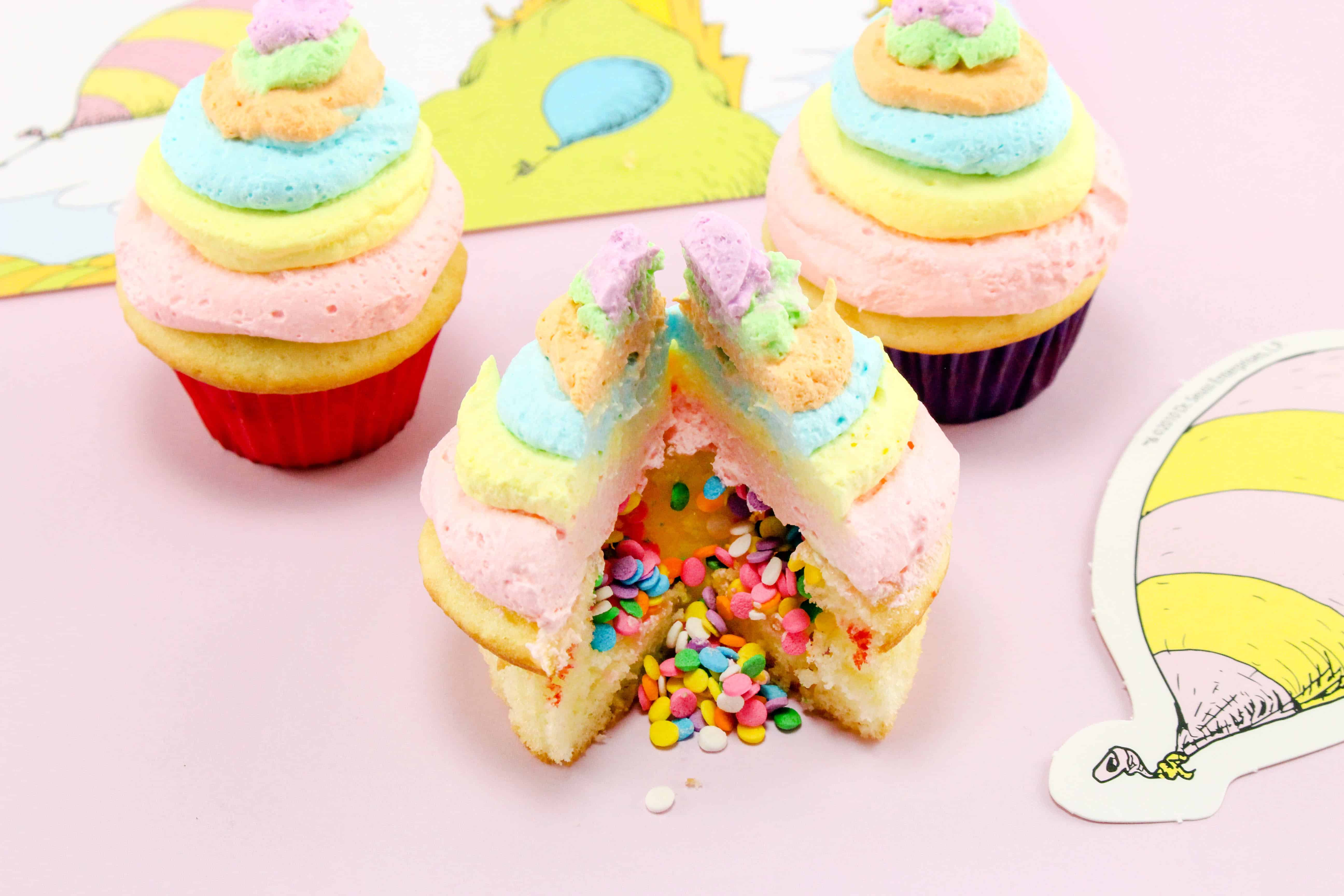 inside of Dr. Seuss Oh the Places You'll Go Cupcakes Recipe