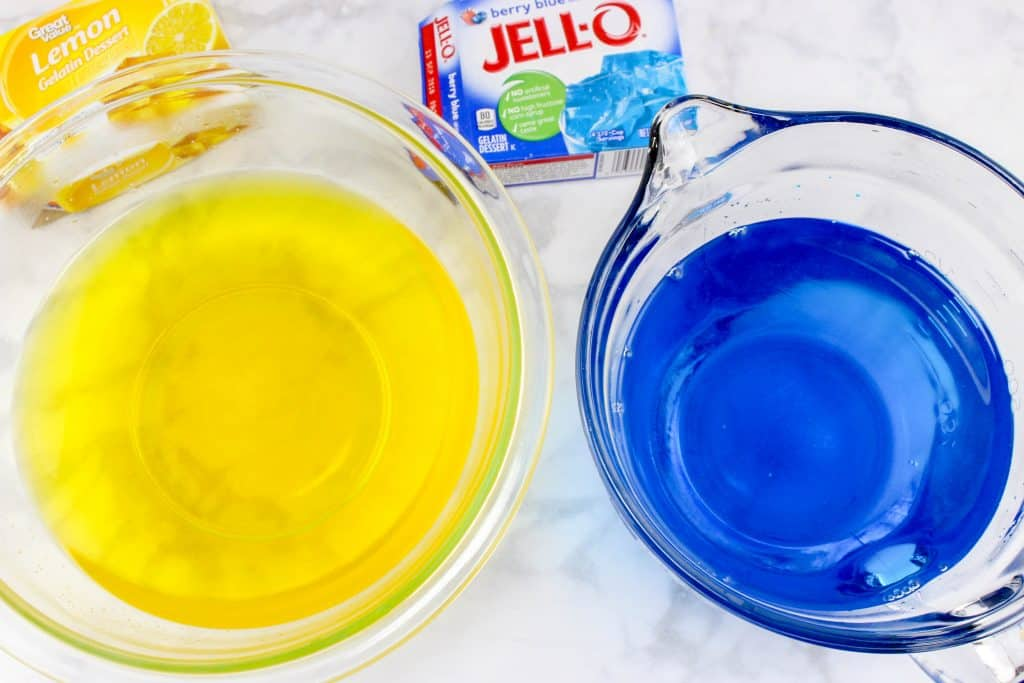 blue and yellow jello bowls