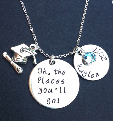 silver Oh the Places You'll Go Necklace on Etsy