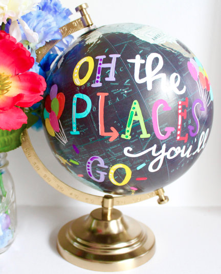 Oh the Places You'll Go globe handmade on etsy