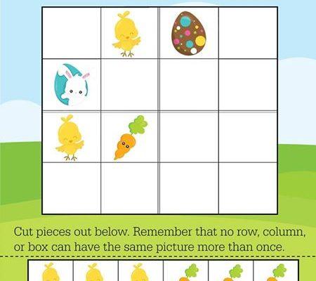 FREE Printable Easy Easter Sudoku for Preschool & Primary Math