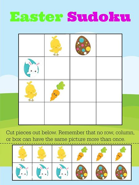 photograph about Beginner Sudoku Printable known as No cost Printable Uncomplicated Easter Sudoku for Preschool Essential Math