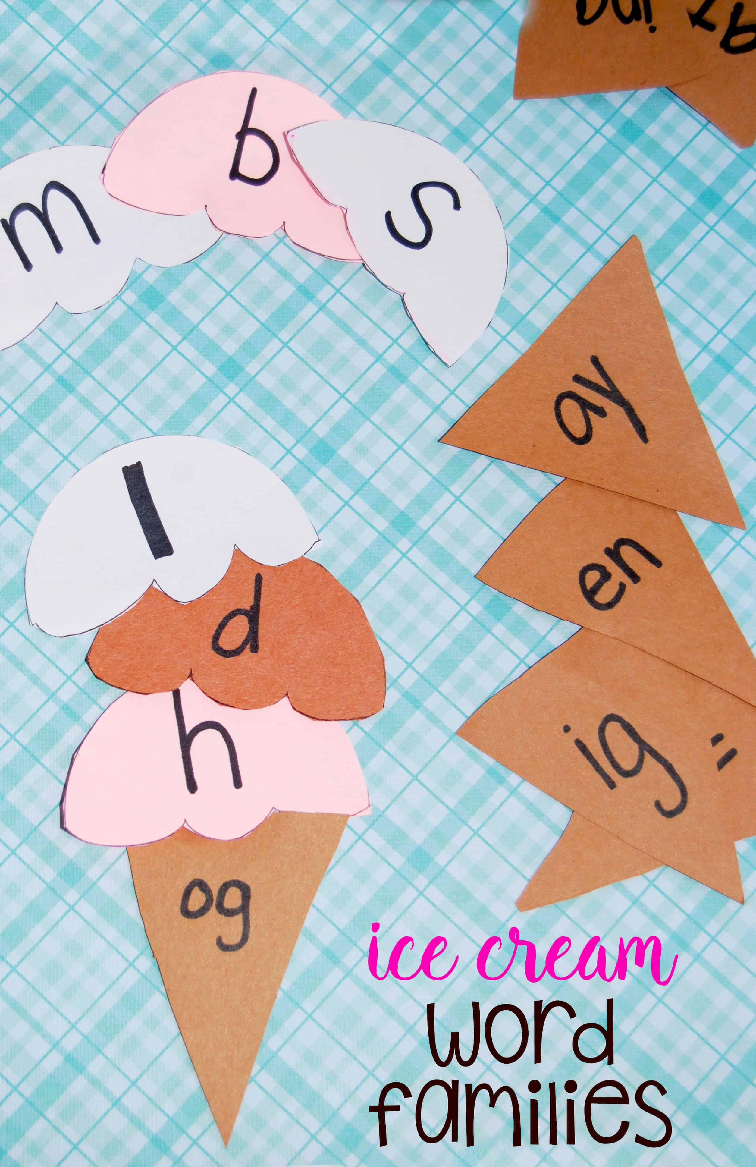 Summer Kid\'s Activity: Ice Cream Word Families Literacy Game