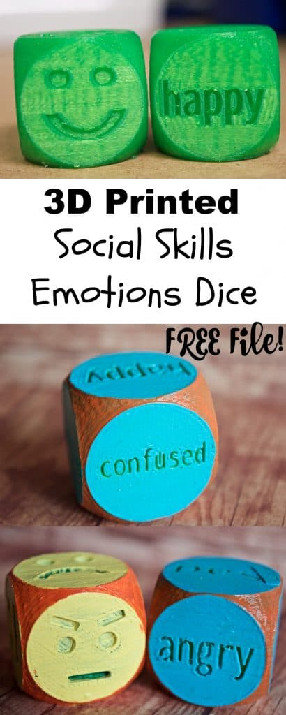 3D Printed Social Skills Emotions Dice