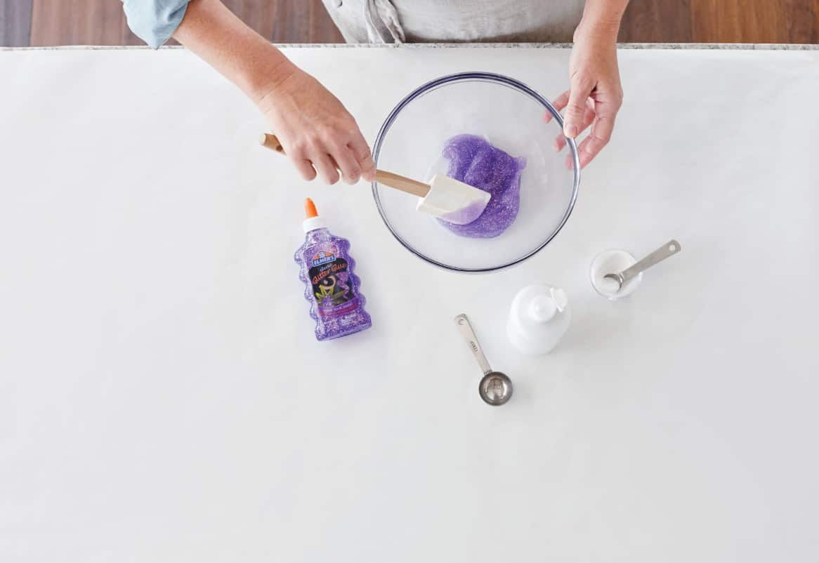 Mix Elmer's official slime recipe thoroughly in a kitchen bowl until ready for kids to play
