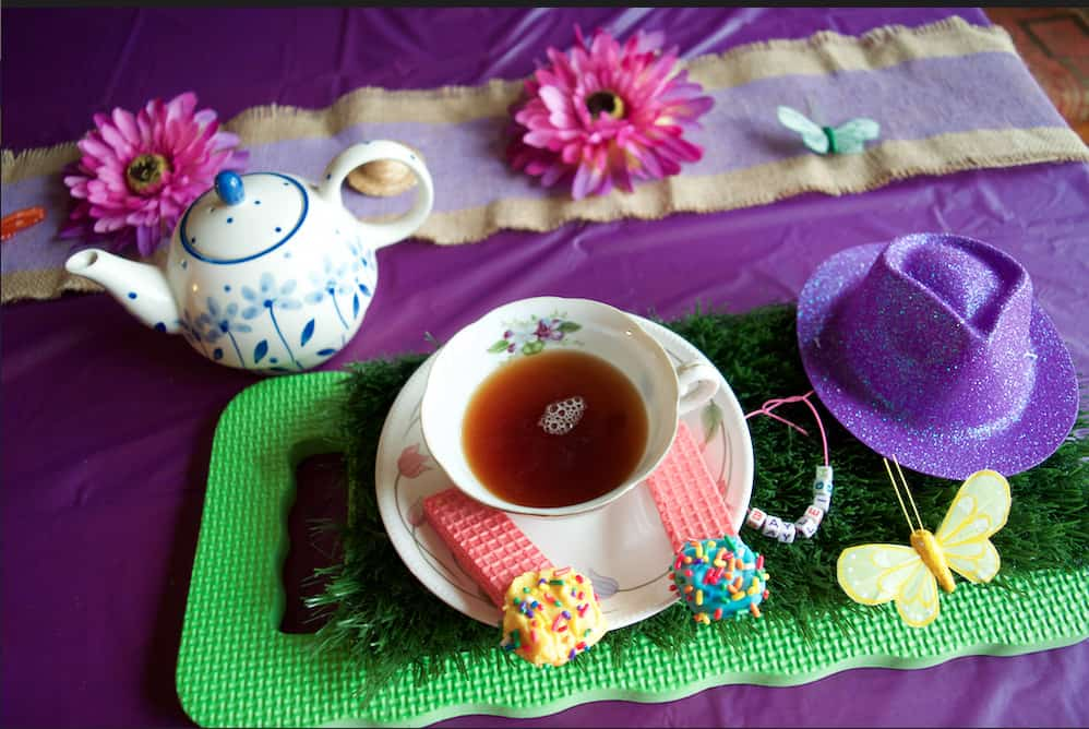 purple magical tea party place setting