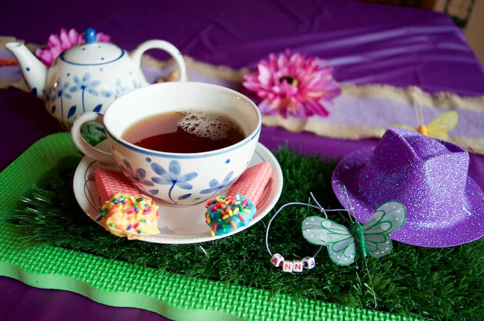 tea Party place setting with faux grass