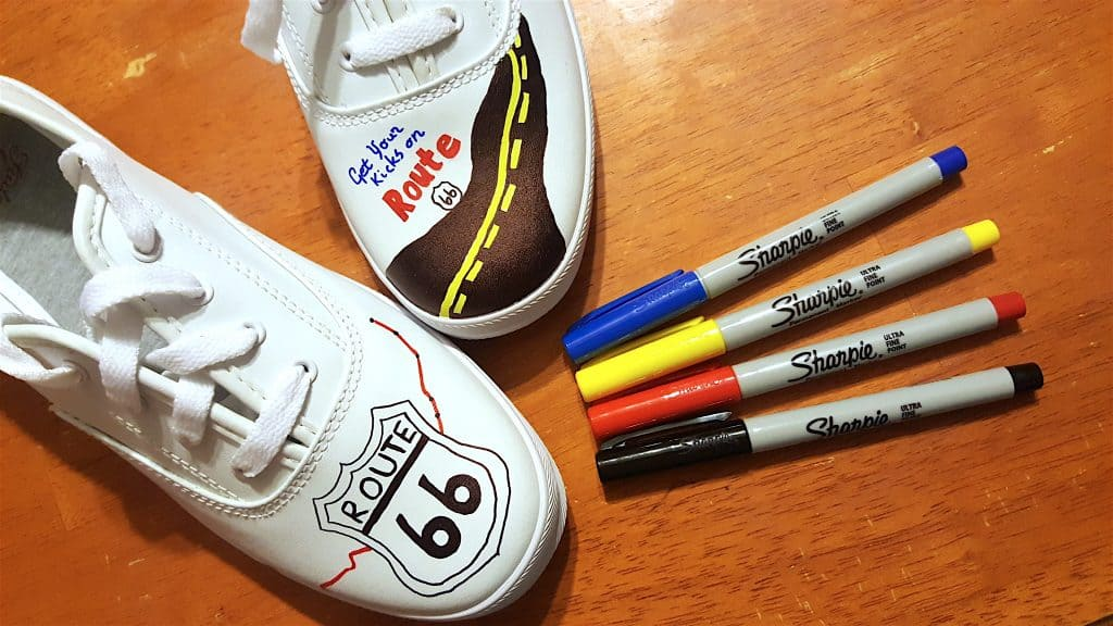 """DIY """"Get Your Kicks Route 66"""" the Mother Road Travel Shoes Tutorial"""