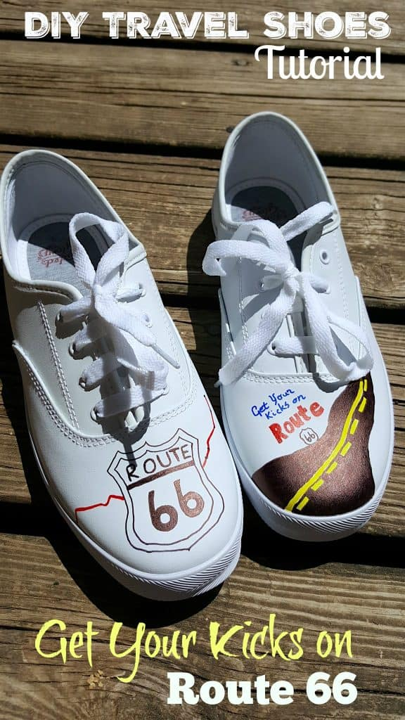 """DIY """"Get Your Kicks Route 66"""" the Mother Road Travel Shoes"""