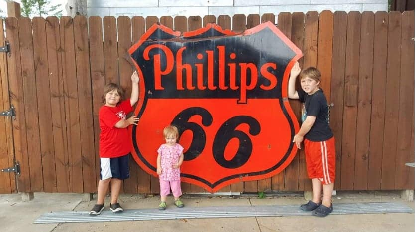 large orange Philips 66 sign