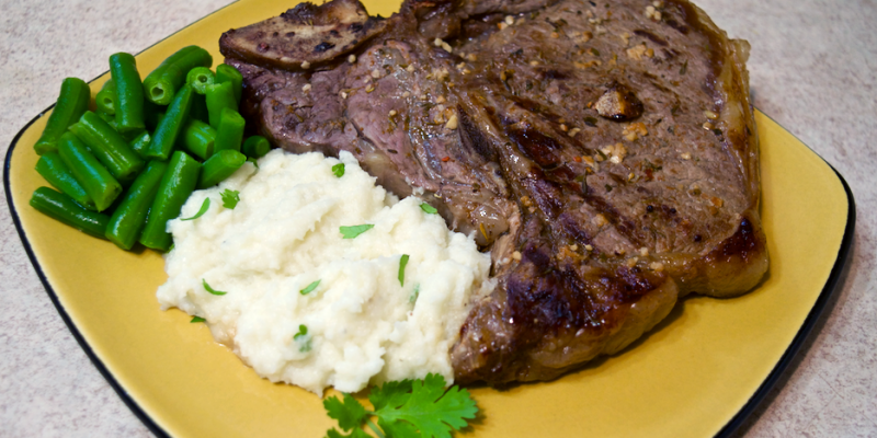 15 Minute Steak Dinner with Garlic Lime Cilantro Mashed Cauliflower