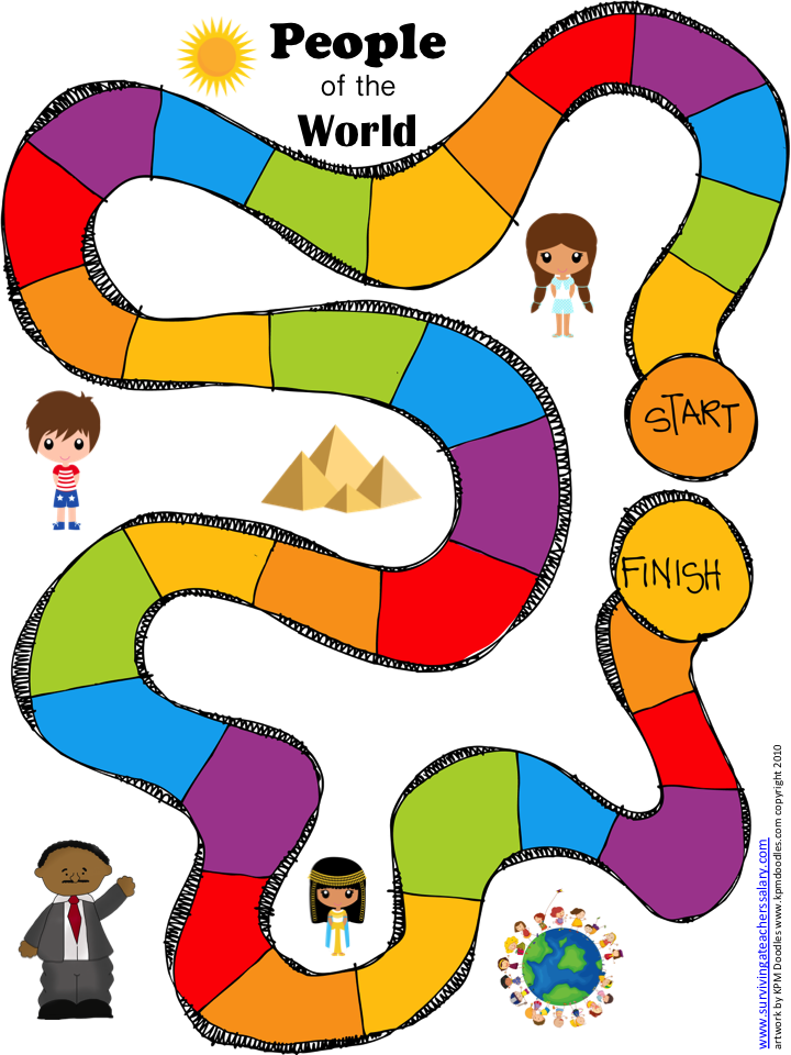 People of the World Geography Game Board Printable