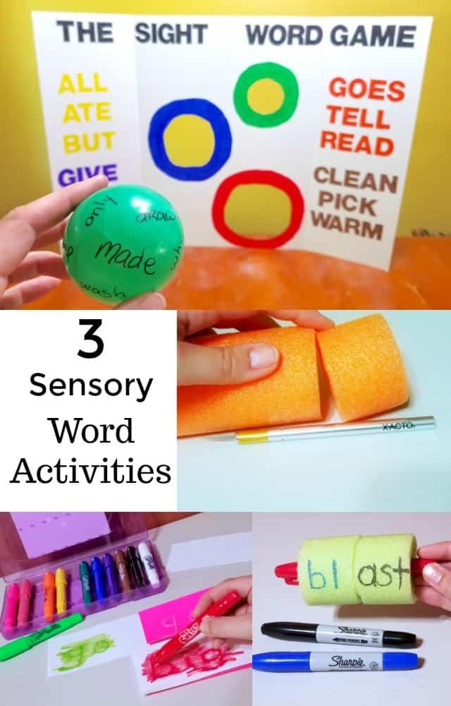 3 Sensory Word Activities