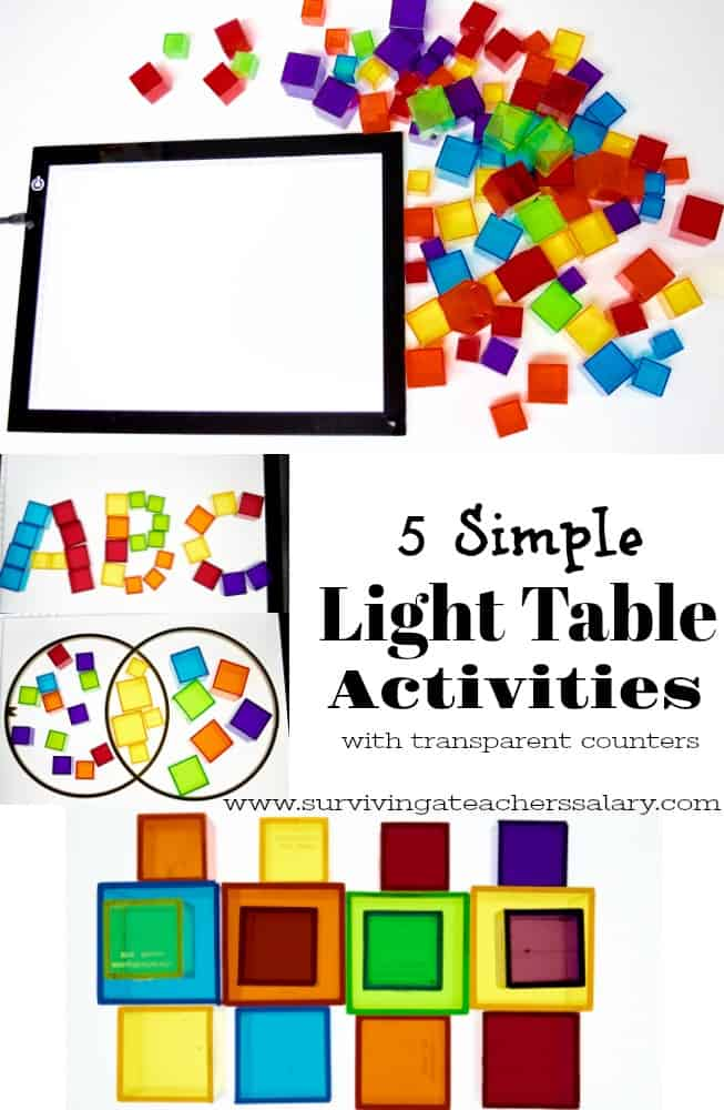 Light Table Activities table and opaque counting cubes
