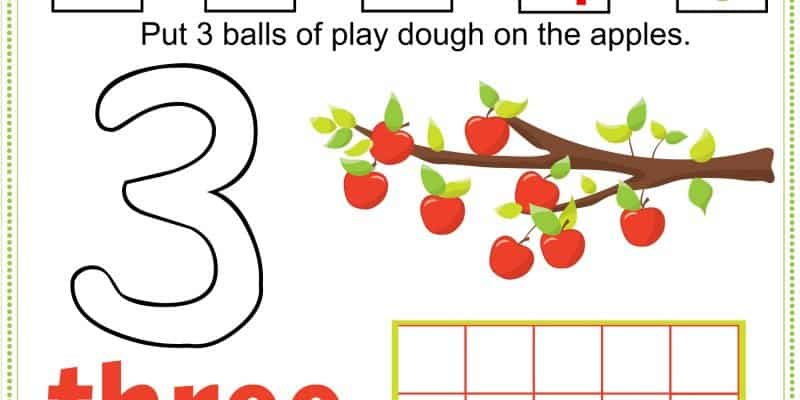FREE Printable Fall Apple Tree Numbers Play Dough Mats