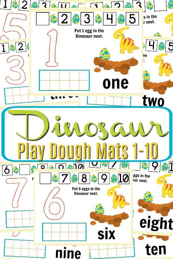 graphic relating to Free Printable Playdough Mats called No cost Printable Dinosaur Engage in Dough Mat - Figures 1-10
