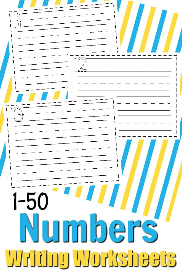 Free Math Printable: Writing Numbers 1-50 Writing Worksheets