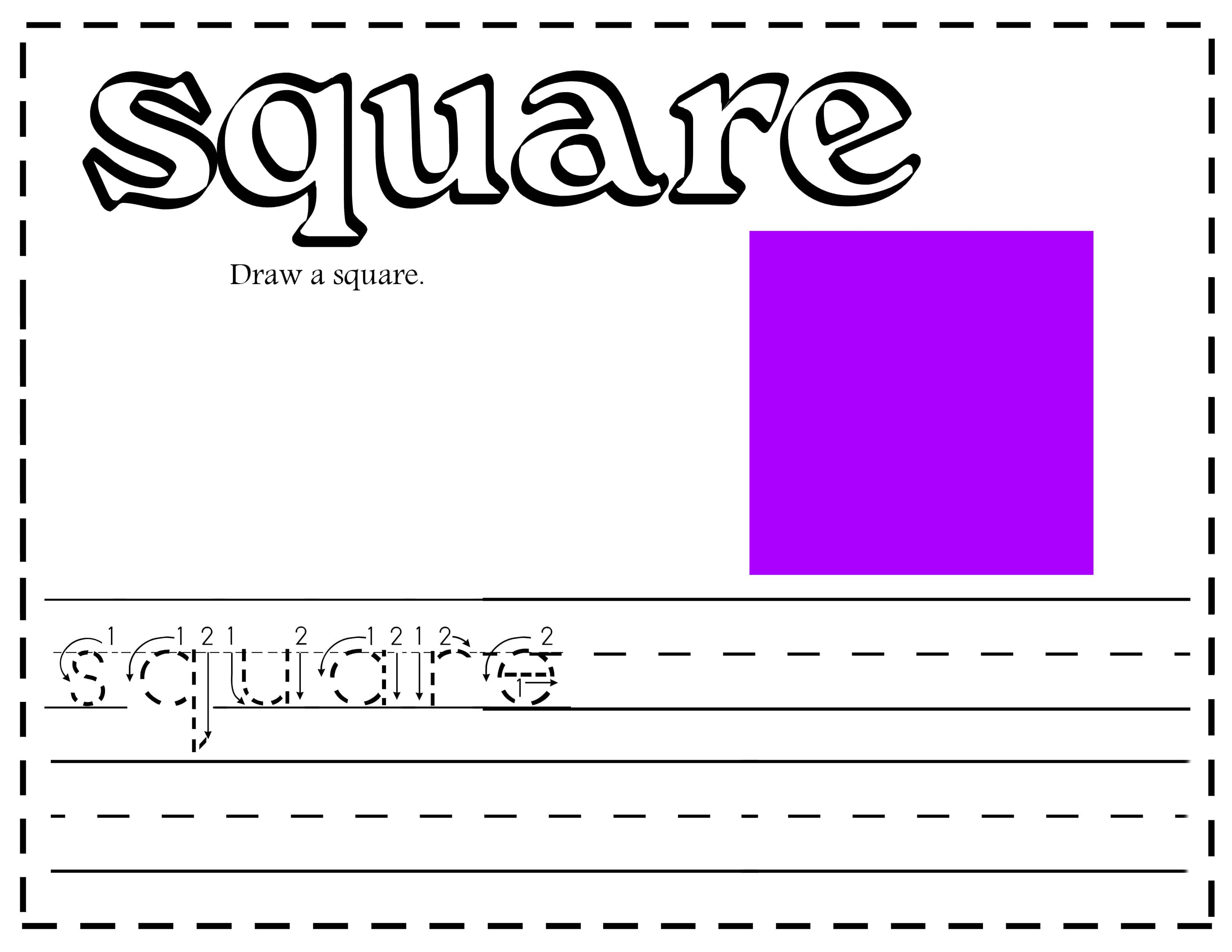 All about learning shapes printables and activities - Square