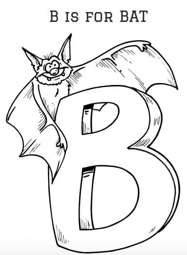 B is for Bat Coloring Sheet