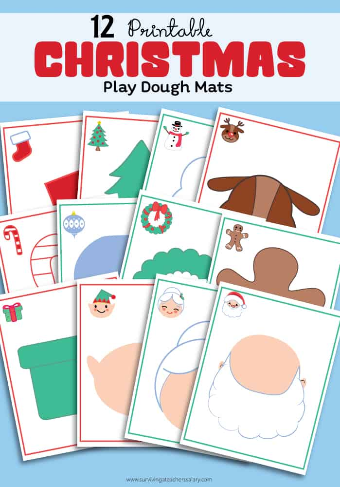 Counting Down to Christmas Play Dough Sensory Mats