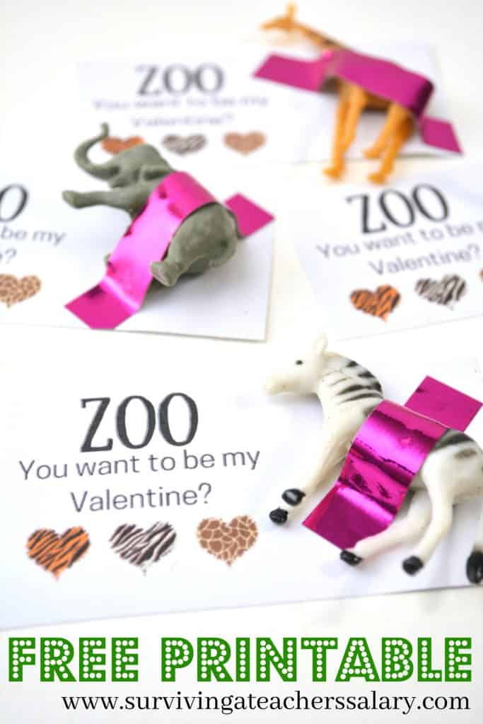 FREE Zoo Printable Valentine's Day Card for Kids