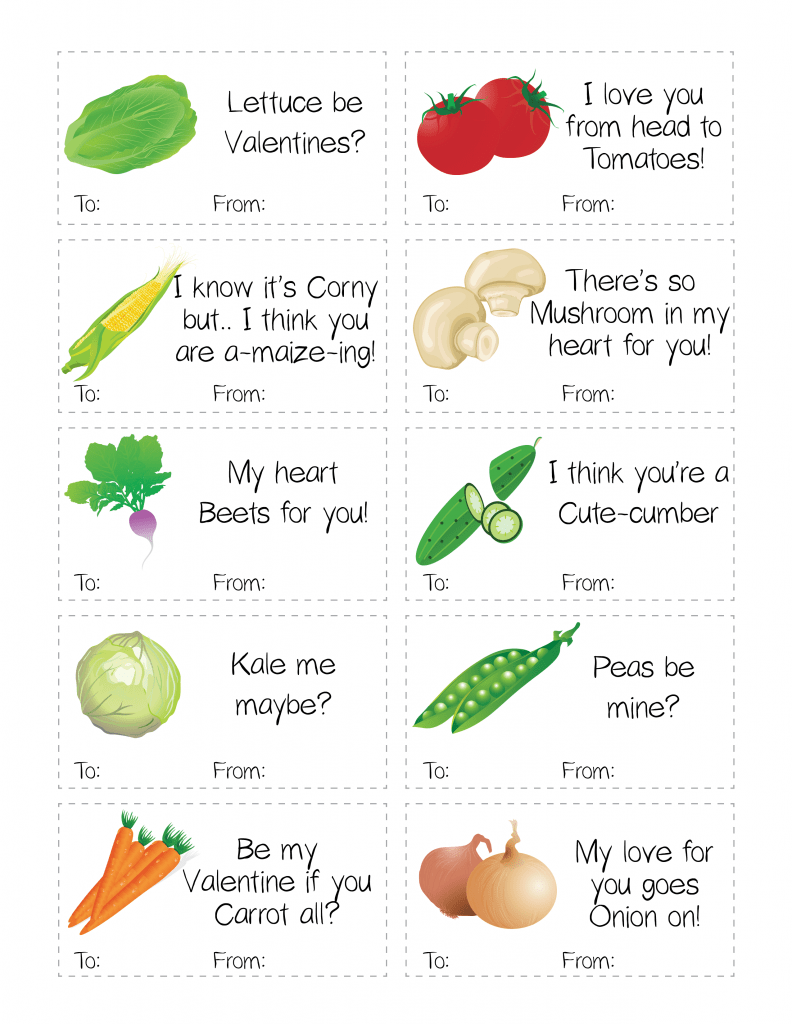 Punny Healthy Fruit & Vegetable Valentine's Day Printable Cards