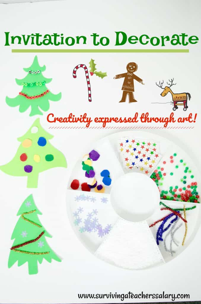 Invitation to Decorate a Christmas Tree Preschool Winter Craft Activity