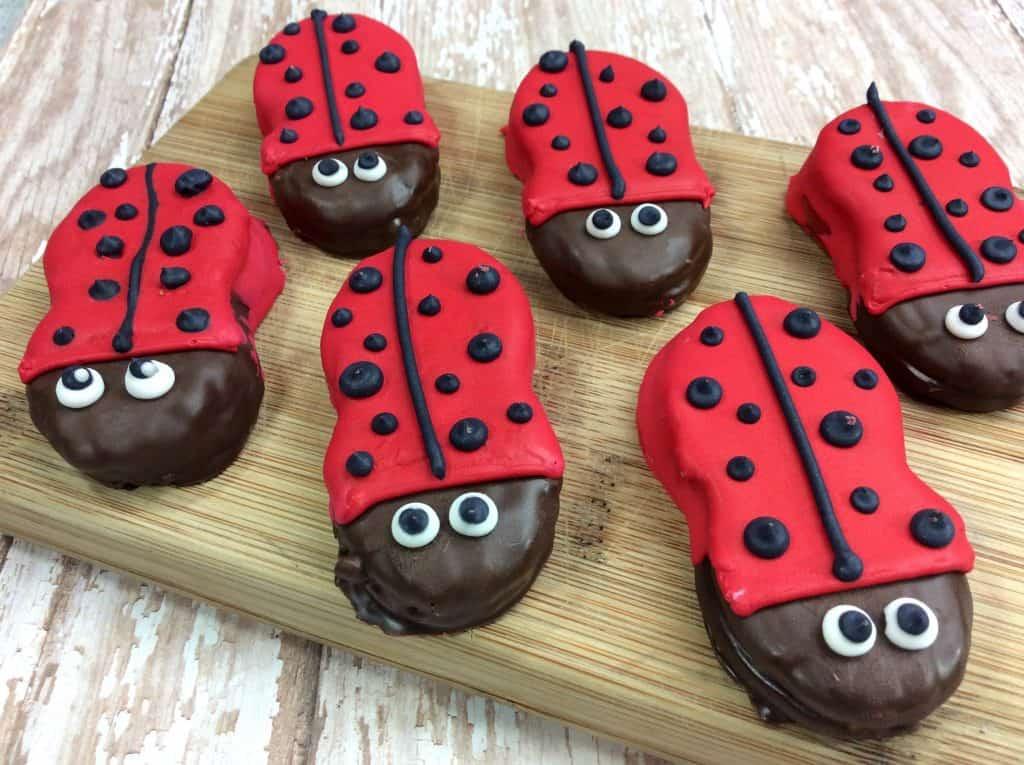 spring ladybug cookies on display