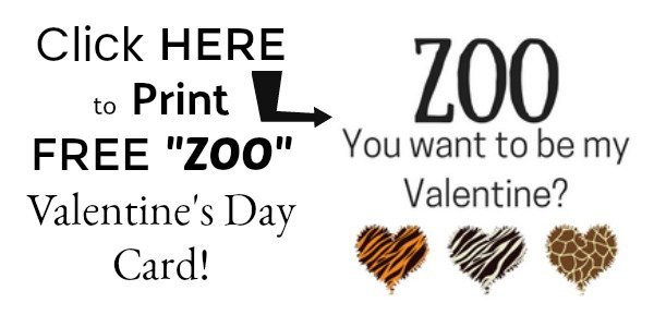 FREE Printable Zoo You Want to Be My Valentine's Day card