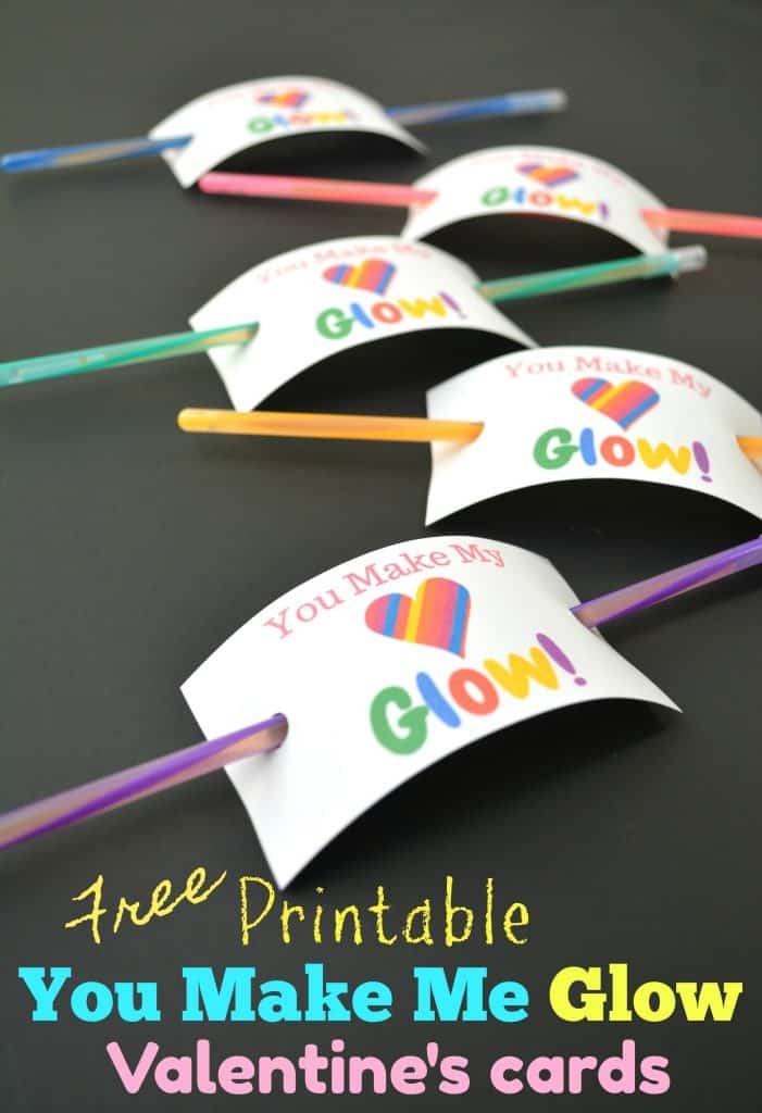 Free printable Glow Stick Valentines Day Cards