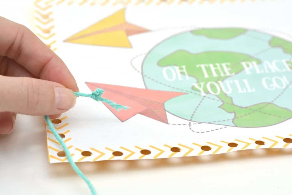 """Oh the Places You'll Go"" Dr. Seuss inspired Printable Lacing Activity"