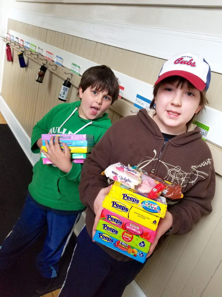 two boys with PEEPS Candy