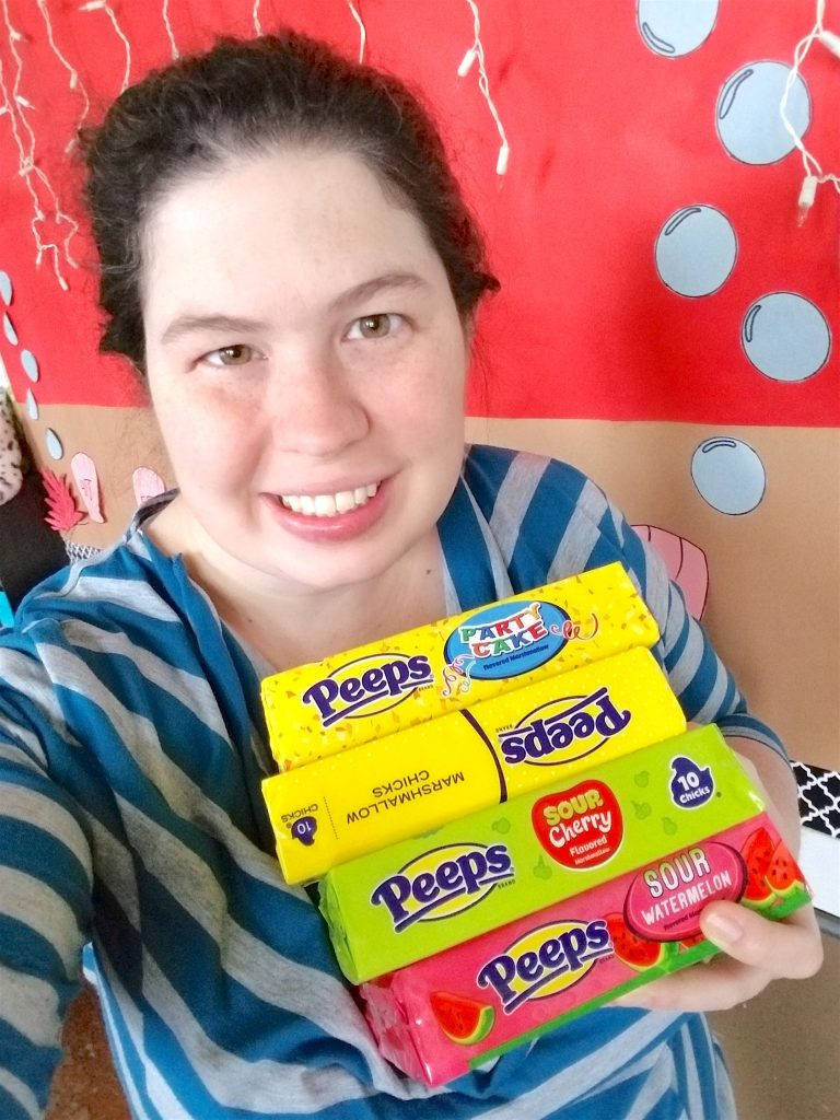woman with pile of PEEPS Easter candy