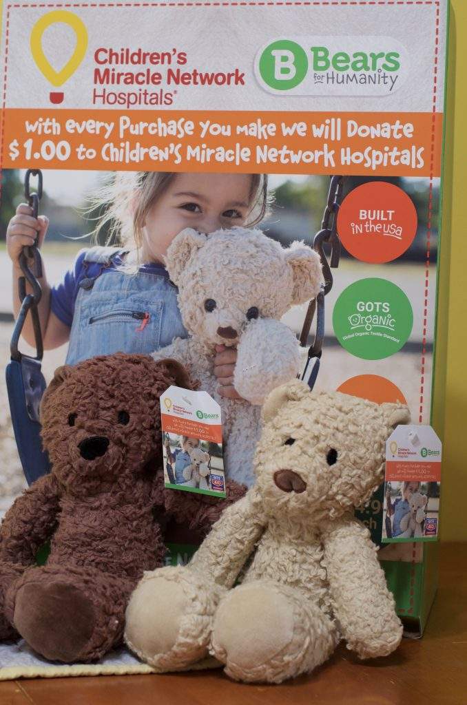 two teddy bears with Children's Miracle Hospital