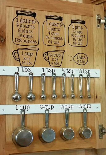 kitchen measuring cups and spoons decal cheat sheet