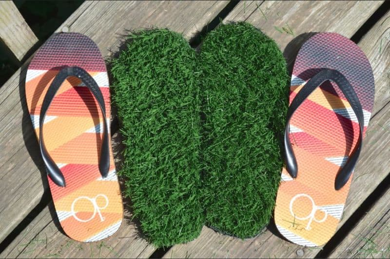 Grass Summer Flip Flops inserts with shoes