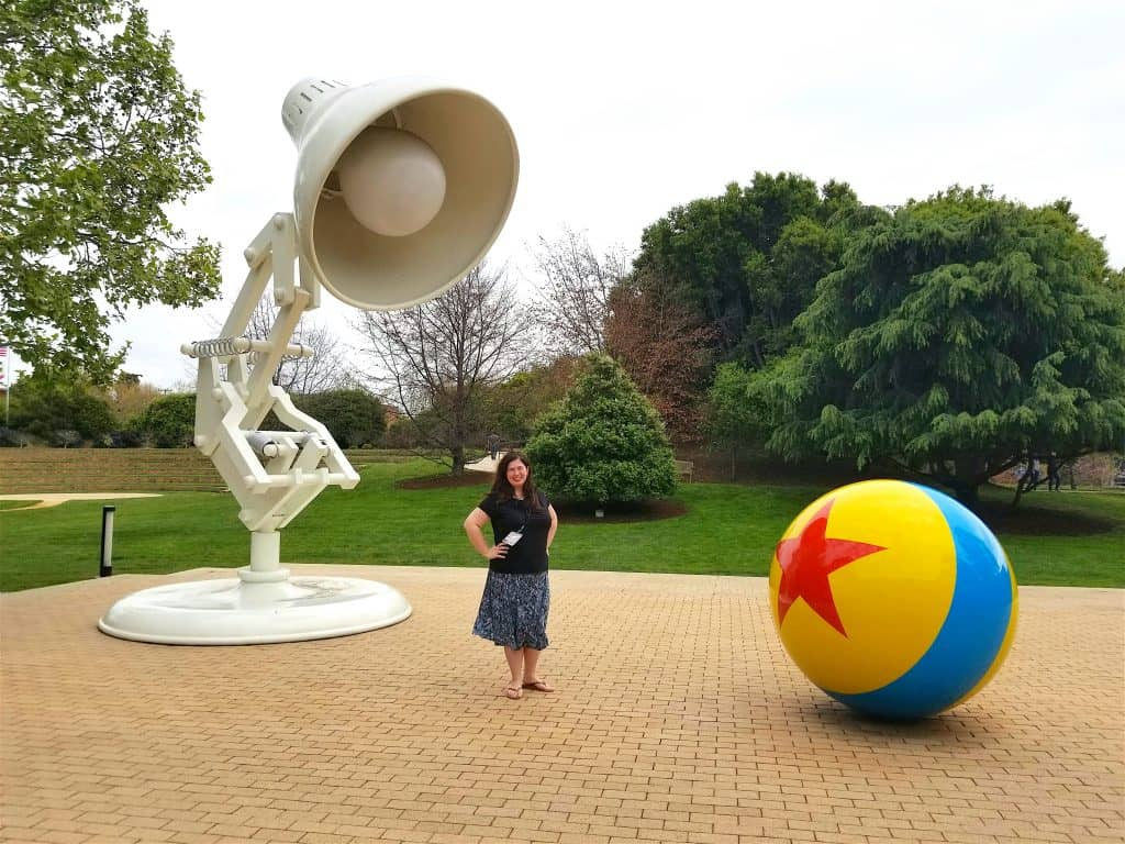 woman at Pixar Studios Lamp and Ball