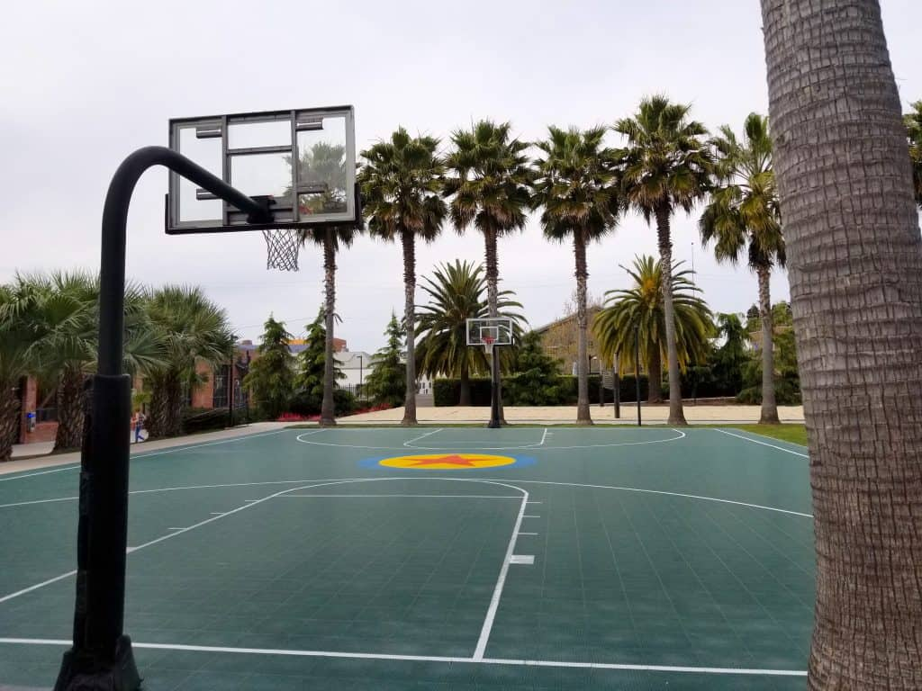basketball court with palm trees