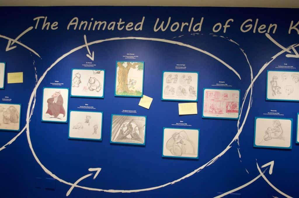 wall of animations by Glen Keane