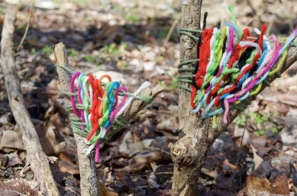 Camp Kindness camping craft yarn sticks