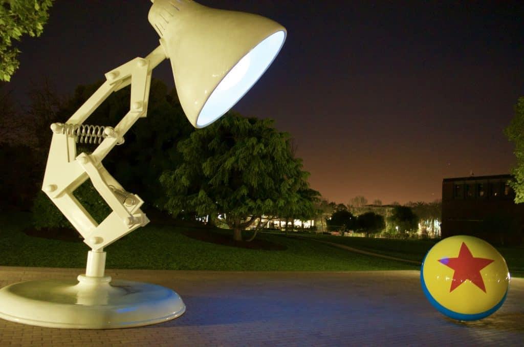 night photo of Luxo Lamp and Ball at Pixar