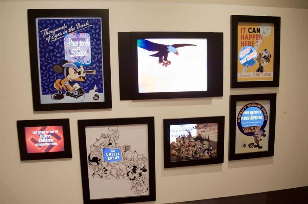 wall of TVs Disney films