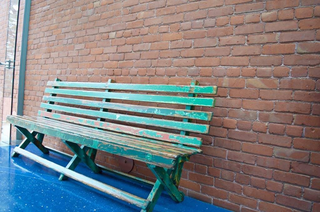 green weather bench of Walt Disney
