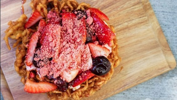 strawberry funnel cake dessert