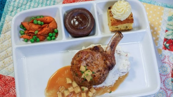 pork chop TV dinner with vegetables