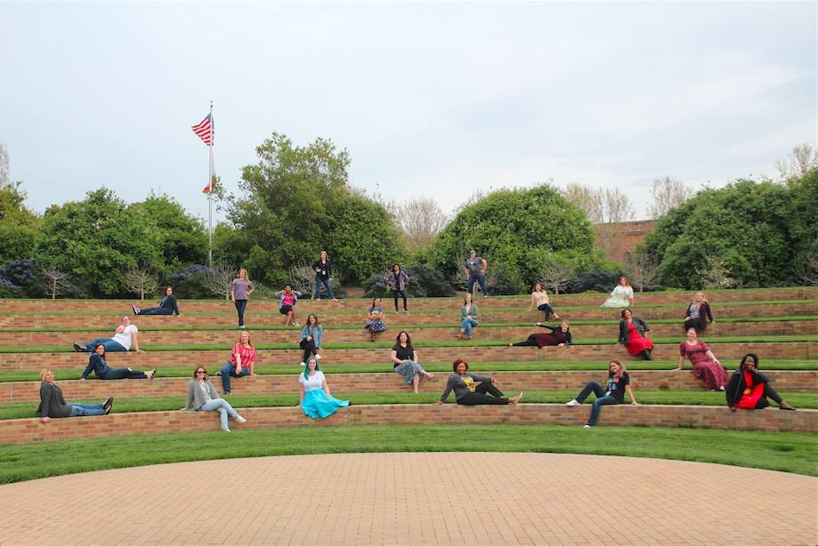 group photos at Pixar amphitheater