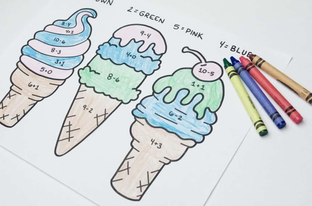 printable math worksheet ice cream
